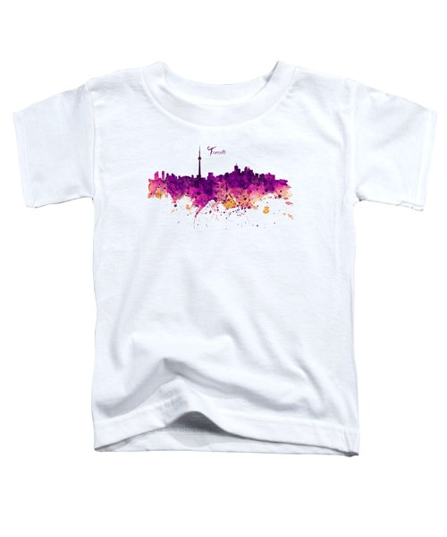 Toronto Watercolor Skyline Toddler T-Shirt by Marian Voicu