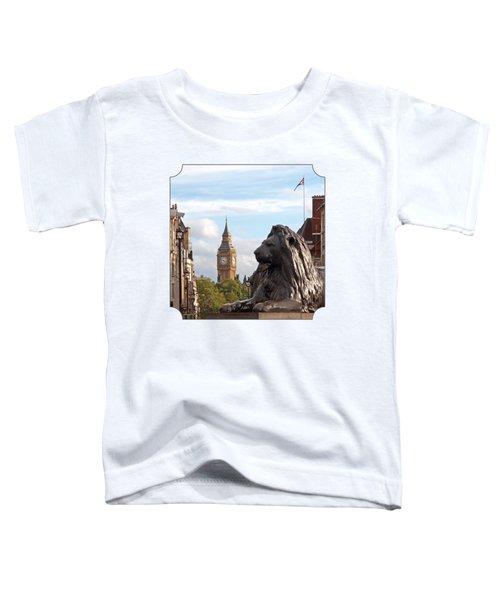 Trafalgar Square Lion With Big Ben Toddler T-Shirt by Gill Billington