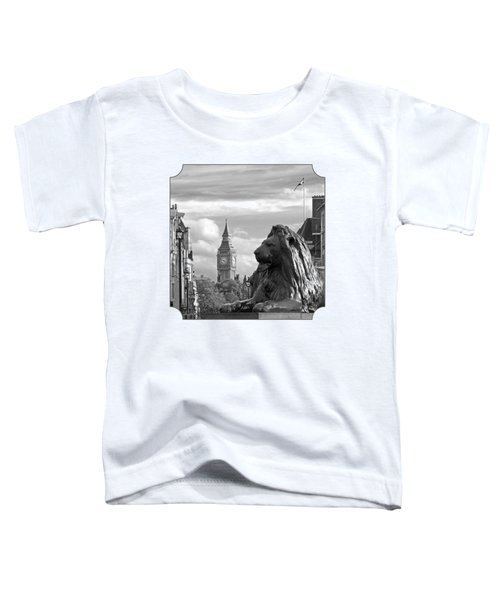 Trafalgar Square Lion With Big Ben In Black And White Toddler T-Shirt by Gill Billington