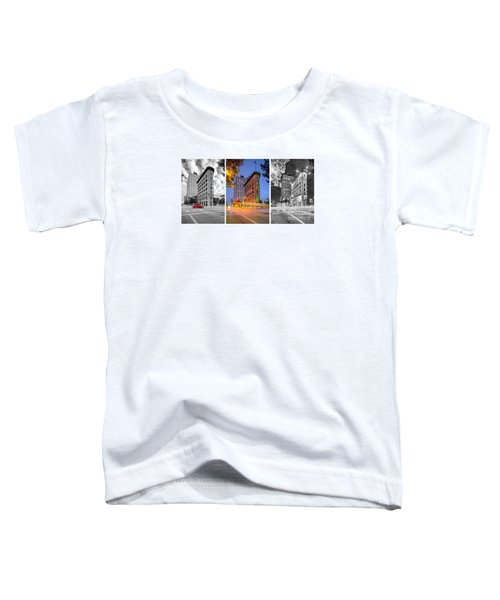 Triptych Of The Flatiron Building In Downtown Fort Worth - Texas  Toddler T-Shirt by Silvio Ligutti
