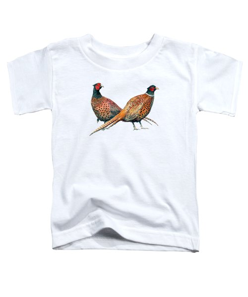 Two Pheasants Back To Back Toddler T-Shirt by Richard Skilton