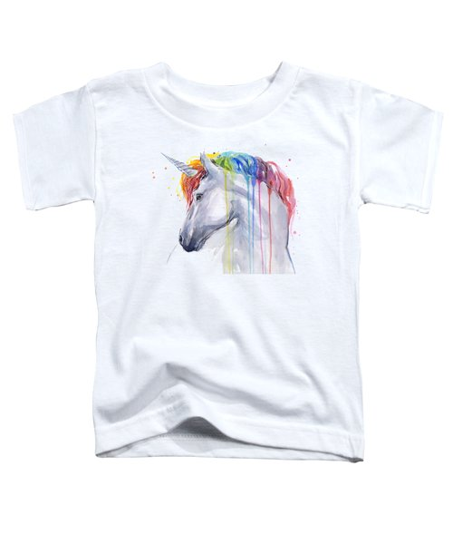 Unicorn Rainbow Watercolor Toddler T-Shirt by Olga Shvartsur