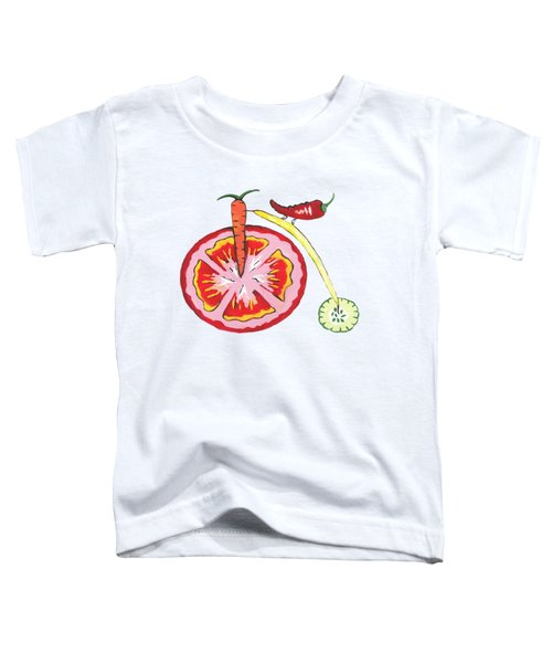 Veggie Bike Toddler T-Shirt by Kathleen Sartoris