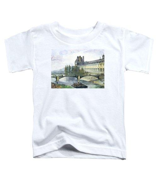 View Of The Pavillon De Flore Of The Louvre Toddler T-Shirt by Francois-Marius Granet
