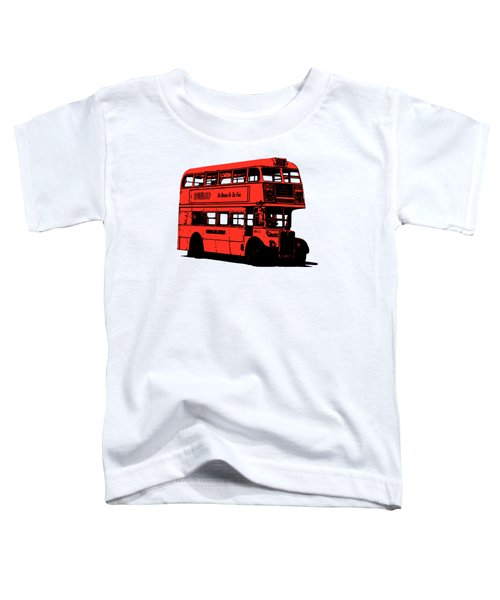 Vintage Red Double Decker London Bus Tee Toddler T-Shirt by Edward Fielding