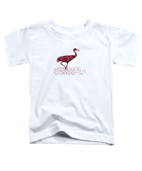 Colorful Sandhill Crane Silhouette Toddler T-Shirt by Shara Lee