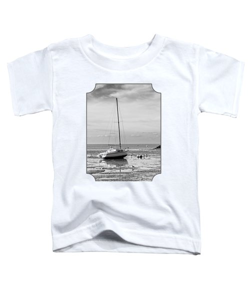 Waiting For High Tide Black And White Toddler T-Shirt by Gill Billington