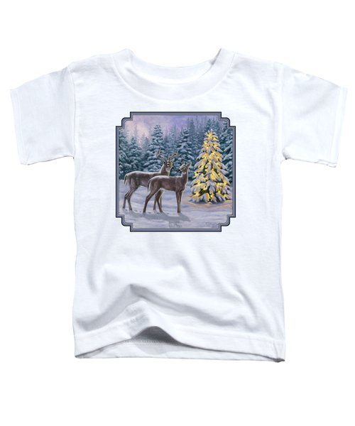 Whitetail Christmas Toddler T-Shirt by Crista Forest