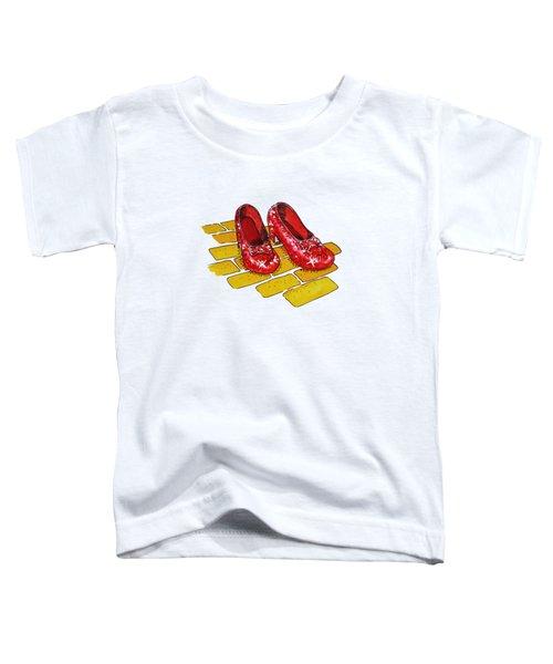 Wizard Of Oz Ruby Slippers Toddler T-Shirt by Irina Sztukowski