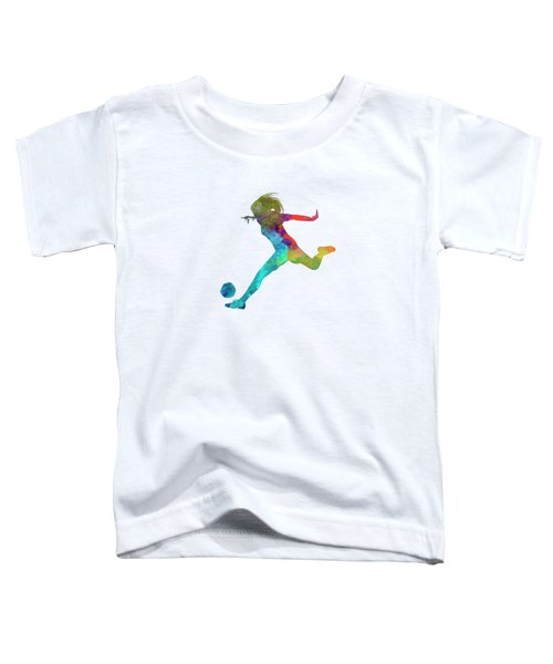 Woman Soccer Player 01 In Watercolor Toddler T-Shirt by Pablo Romero
