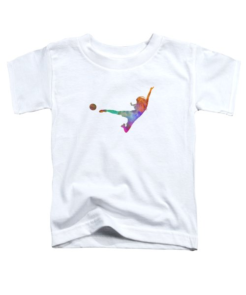 Woman Soccer Player 02 In Watercolor Toddler T-Shirt by Pablo Romero