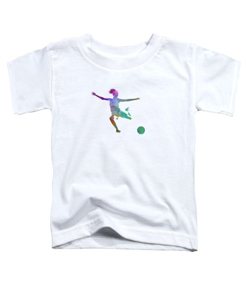 Woman Soccer Player 03 In Watercolor Toddler T-Shirt by Pablo Romero