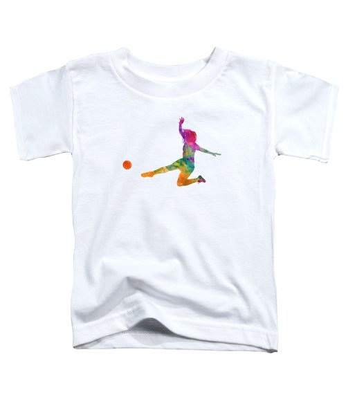 Woman Soccer Player 11 In Watercolor Toddler T-Shirt by Pablo Romero