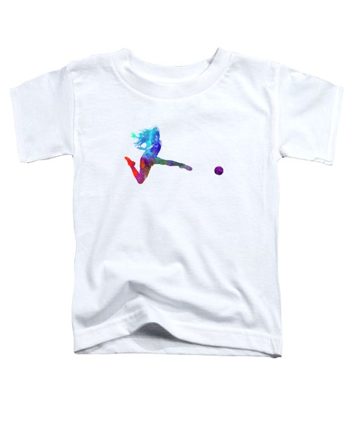 Woman Soccer Player 16 In Watercolor Toddler T-Shirt by Pablo Romero