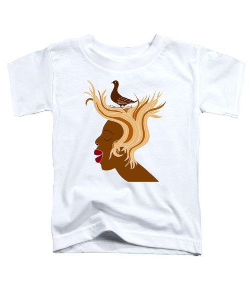 Woman With Bird Toddler T-Shirt by Frank Tschakert