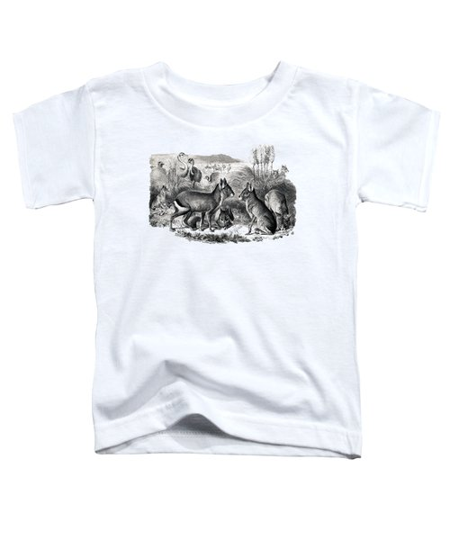 woodcut drawing of South American Maras Toddler T-Shirt by The one eyed Raven