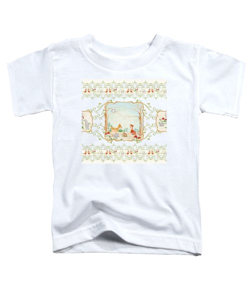 Woodland Fairy Tale - Aqua Blue Forest Gathering Of Woodland Animals Toddler T-Shirt by Audrey Jeanne Roberts