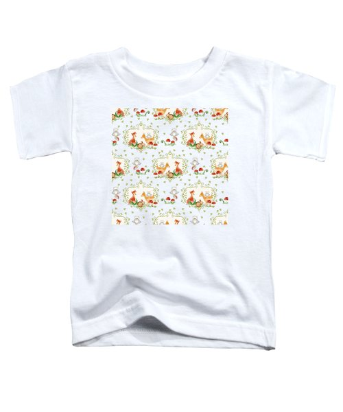 Woodland Fairy Tale -  Warm Grey Sweet Animals Fox Deer Rabbit Owl - Half Drop Repeat Toddler T-Shirt by Audrey Jeanne Roberts