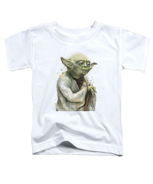 Yoda Watercolor Toddler T-Shirt by Olga Shvartsur