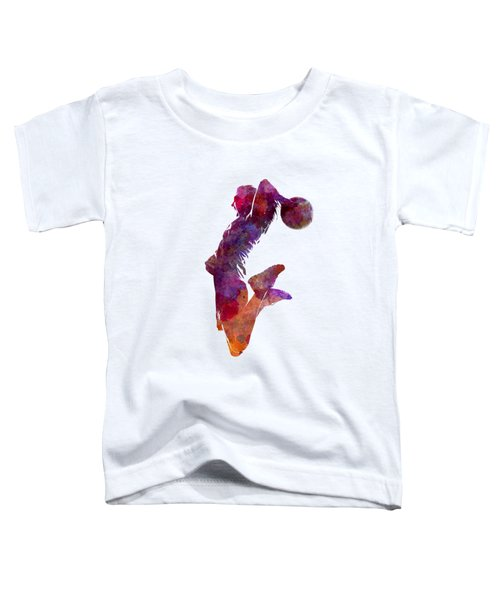 Young Woman Basketball Player 01 In Watercolor Toddler T-Shirt by Pablo Romero