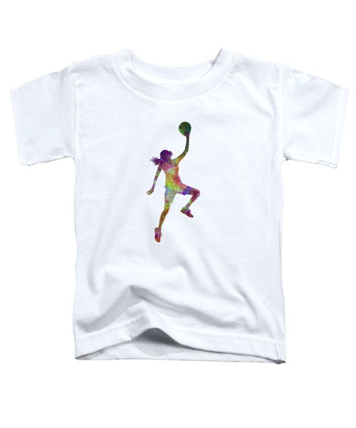 Young Woman Basketball Player 02 In Watercolor Toddler T-Shirt by Pablo Romero