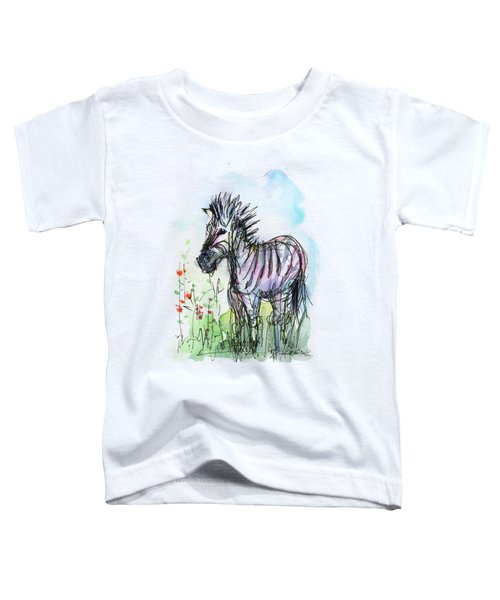 Zebra Painting Watercolor Sketch Toddler T-Shirt by Olga Shvartsur