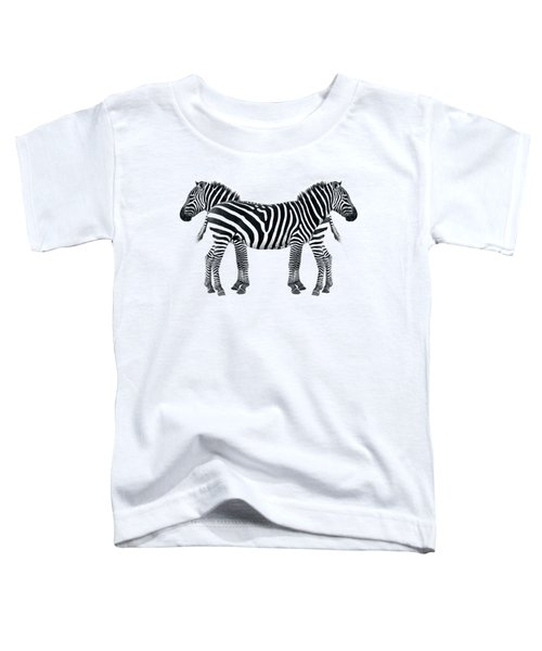 Zebra Pair On Black Toddler T-Shirt by Gill Billington