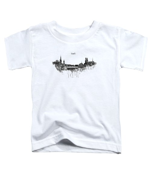 Zurich Black And White Skyline Toddler T-Shirt by Marian Voicu