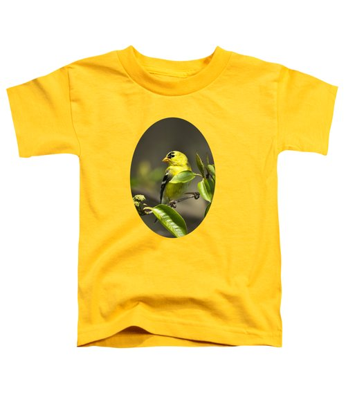 American Goldfinch On Branch Toddler T-Shirt by Christina Rollo