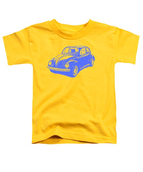 Classic Vw Beetle Tee Blue Ink Toddler T-Shirt by Edward Fielding