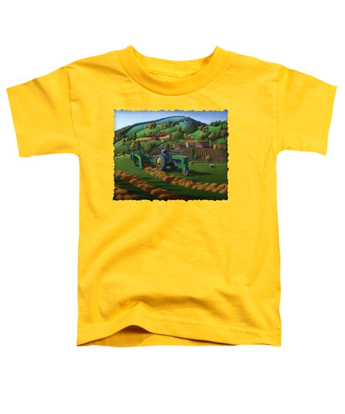 John Deere Tractor Baling Hay Farm Folk Art Landscape - Vintage - Americana Decor -  Painting Toddler T-Shirt by Walt Curlee