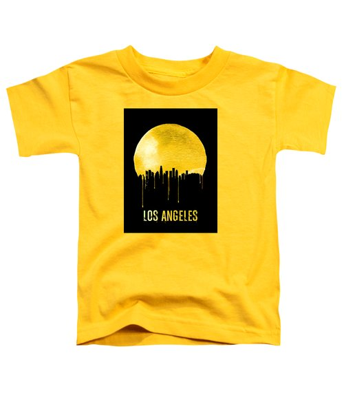 Los Angeles Skyline Yellow Toddler T-Shirt by Naxart Studio