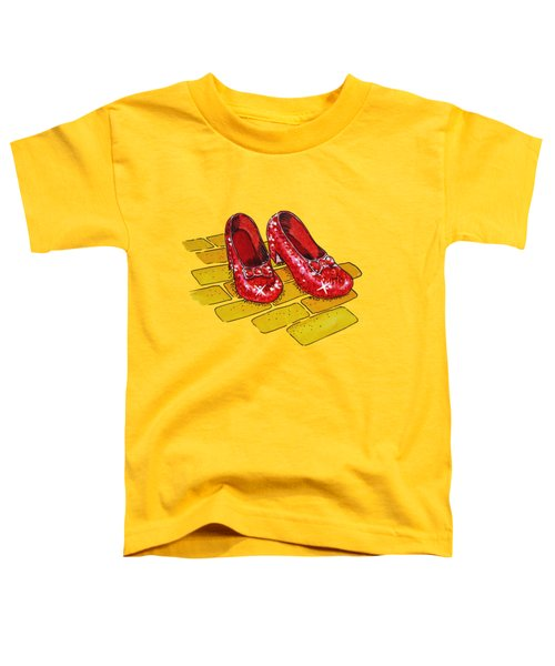 Ruby Slippers Wizard Of Oz Toddler T-Shirt by Irina Sztukowski