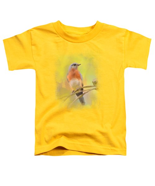 Spring Bluebird Painting Toddler T-Shirt by Jai Johnson