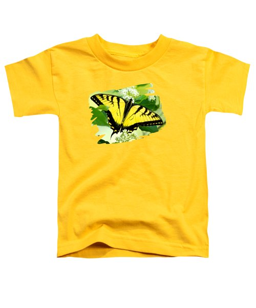 Swallowtail Butterfly Feeding On Flowers Toddler T-Shirt by Christina Rollo