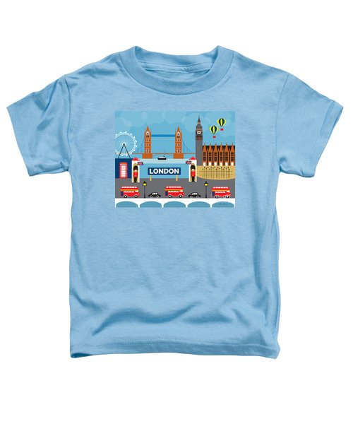 London England Skyline Style O-lon Toddler T-Shirt by Karen Young