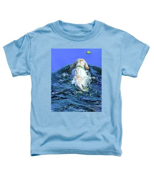 Yellow Lab  Blue Wake Toddler T-Shirt by Molly Poole
