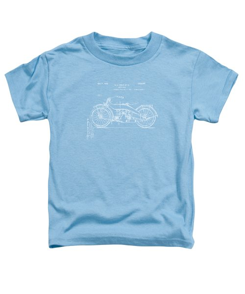 1924 Harley Motorcycle Patent Artwork Blueprint Toddler T-Shirt by Nikki Marie Smith