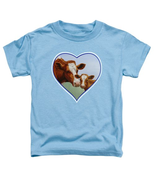 Cow And Calf Blue Heart Toddler T-Shirt by Crista Forest