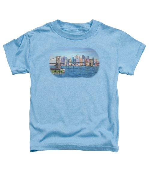 New York Brooklyn Bridge Toddler T-Shirt by Renato Maltasic