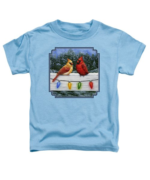Bird Painting - Christmas Cardinals Toddler T-Shirt by Crista Forest