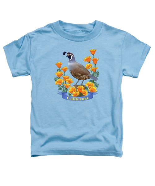 California Quail And Golden Poppies Toddler T-Shirt by Crista Forest