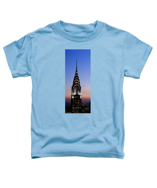 Building Lit Up At Twilight, Chrysler Toddler T-Shirt by Panoramic Images