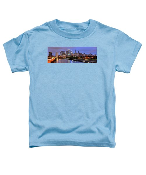 Philadelphia Philly Skyline At Dusk From Near South Color Panorama Toddler T-Shirt by Jon Holiday