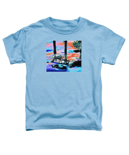 Rhinos Having A Picnic Toddler T-Shirt by Abstract Angel Artist Stephen K