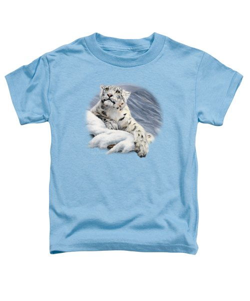 Snow Leopard Toddler T-Shirt by Lucie Bilodeau