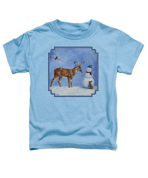Whitetail Deer And Snowman - Whose Carrot? Toddler T-Shirt by Crista Forest
