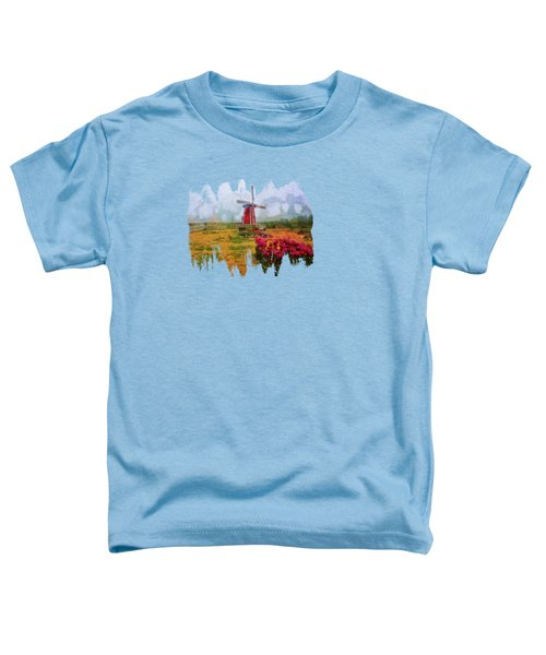 Windmill And Tulips Toddler T-Shirt by Thom Zehrfeld