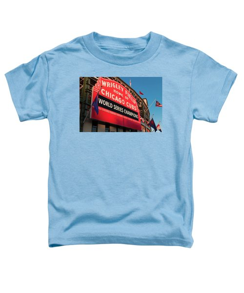 Wrigley Field World Series Marquee Angle Toddler T-Shirt by Steve Gadomski