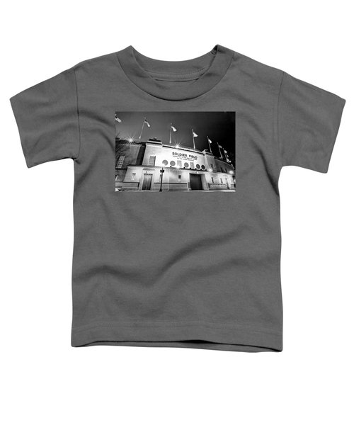 0879 Soldier Field Black And White Toddler T-Shirt by Steve Sturgill